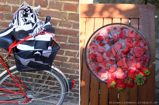 Radtransport mit Bowle zum Picknick, Erdbeerminzbowle Rezept