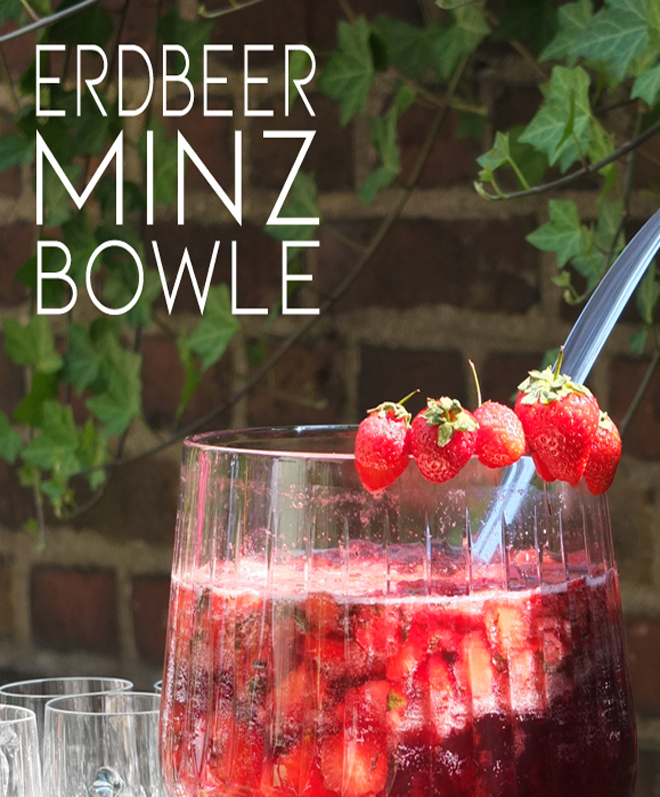 Erdbeerminzbowle, Erdbeeren und Minze, Bowle fürs Picknick, Bowle Rezept Sommer