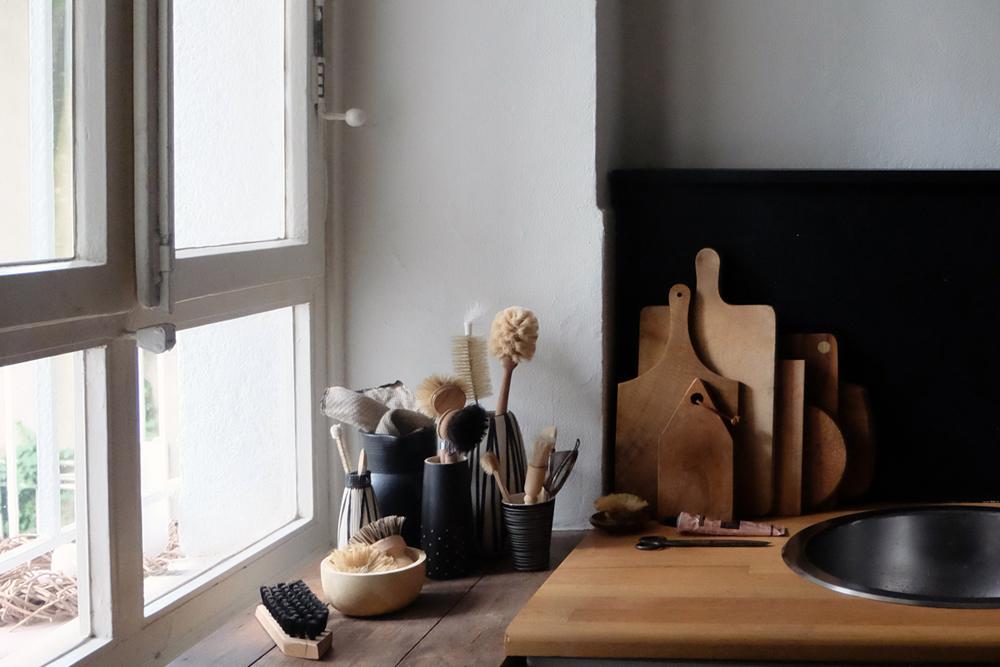 reversible küchenrückwand diy, küche schwarz