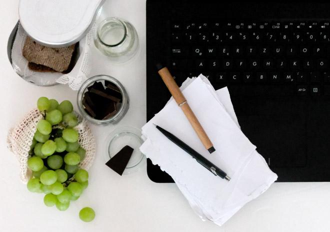 zero waste büro, nachhaltiges büro, papierfreies büro, zero waste mittagspause, nachhaltiger snack