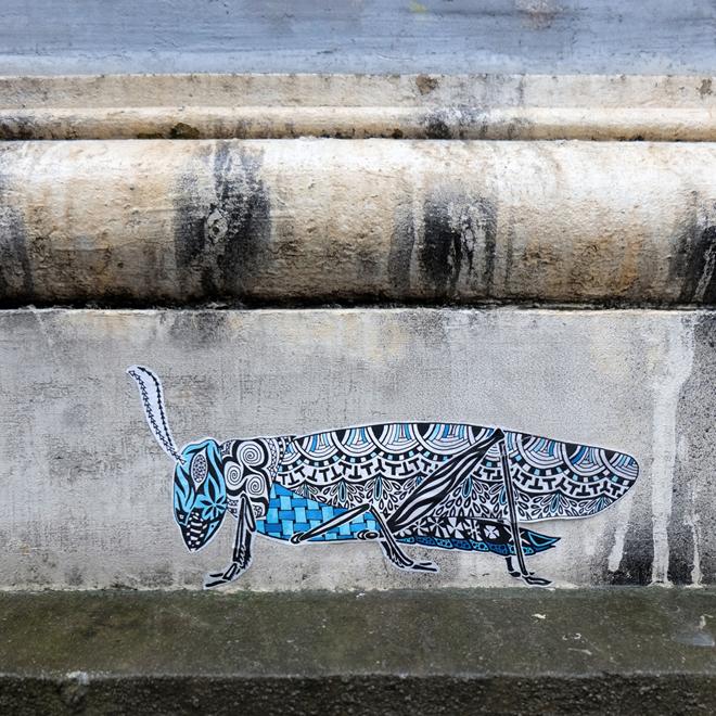 Streetart, Gent, Ghent, Flandern, Belgium, Streetstyle, Paste Up, Pol Cosmo, Insekt, Urnabart, Wallart, Straßenkunst